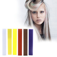 SUNSET | A pack of 6 Hair Chalks for your highly vibrant hair coloring - white, beige, yellow, indigo, auburn & brown