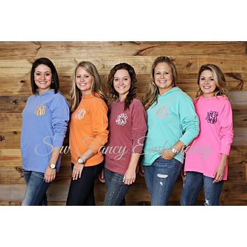 Comfort Colors Long Sleeve Hooded Monogrammed Tee Shirt