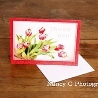 """Greeting Card, Thank You Card, Floral Card, Flower Card, Tulips, Bouquet, Fine Art, 5""""x7"""", Card, Greeting Cards, by Nancy G, Photography"""