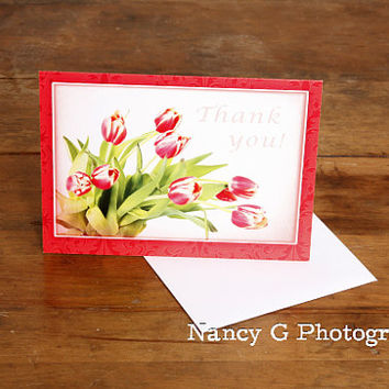 "Greeting Card, Thank You Card, Floral Card, Flower Card, Tulips, Bouquet, Fine Art, 5""x7"", Card, Greeting Cards, by Nancy G, Photography"