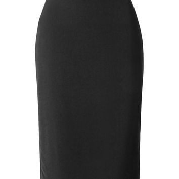 LE3NO Womens Office Work High Waist Pencil Midi Skirt with Side Slit