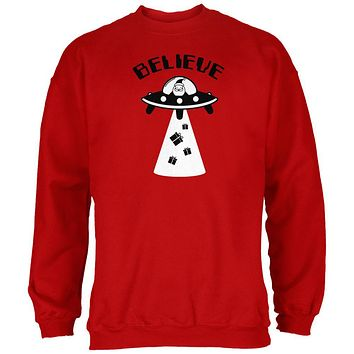 Christmas Believe Santa UFO Red Adult Sweatshirt