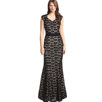 SusanDick Brand Autumn Women Flower Print Dress Sleeveless Floor Length Evening Lace Vestido Back Zip Vintage Bodycon Long Dress