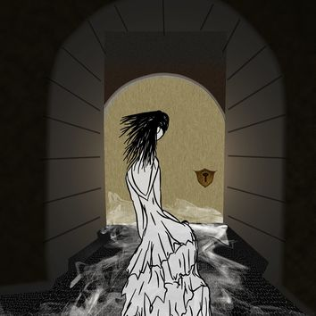Ghost in the Hallway Fashion Illustration