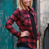 Plaid of My Dreams Button-Up ~ Burgundy ~ Sizes 4-10