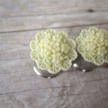 Pair of Cream Flower Cluster Plugs - Bridal Plugs - Formal - Prom - Wedding - Girly Gauges - 4g, 2g, 0g, 00g, post earrings