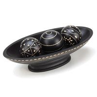 BLACK DECORATIVE BALL SET