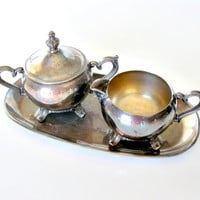 Vintage Silver Cream and Sugar Set, Silverplate Cream & Sugar Set with Tray, 3 Piece Cream and Sugar Set.