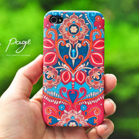 Apple iphone case for iphone iphone 4 iphone 4s iphone 3Gs : Vintage Indian Floral Design