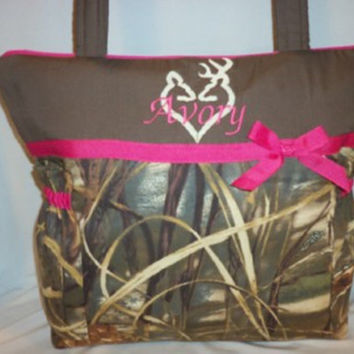 Duffle Mossy Oak Break up camo hunters Diaper bag handbag tote purse Great for Dad's too Unisex fun to customize choose ribbon color name