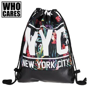 NYC Tropical Floral Print Leather Bottom Backpack