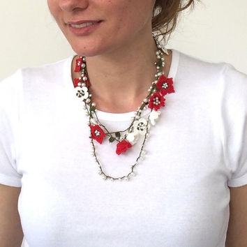 Boho Crochet Wrap Necklace, Multistrand Necklace, Christmas Beaded Necklace, Women's Gift, Oya Layered Collar, Beadwork, ReddApple