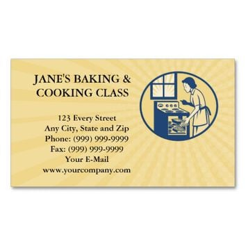 Business card Housewife Baker Baking in Oven Stove