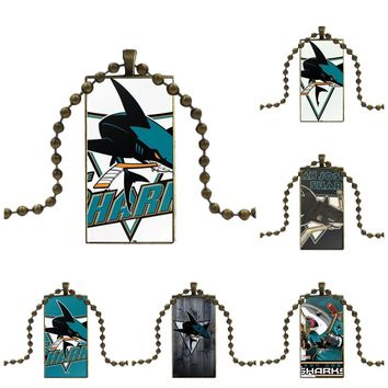 EJ Glaze Nhl San Jose Sharks Team Logo For Women Fashion Glass Cabochon Pendant Rectangle Necklace Choker Necklace Jewelry