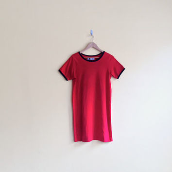 Vintage 90s Red T Shirt Dress - Red Jersey Dress Womens Casual Basic Dress T-Shirt Dress Red Cotton Dress Plus Size Dress 90s Grunge Dress