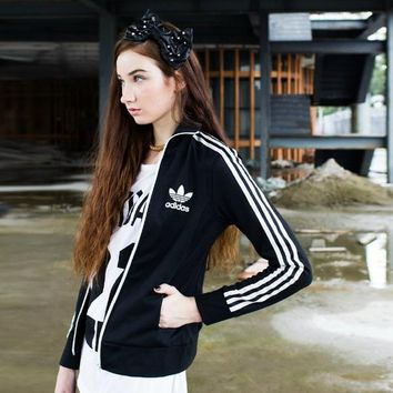 Women¡¯s Adidas Casual Sport Long Sleeve Cardigan Jacket Coat