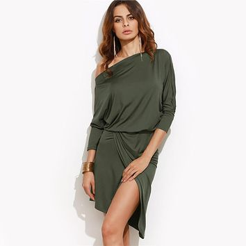 Army Green Women Autumn Party Dresses