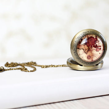 Vintage World map pocket watch necklace - For traveler - Free Shipping