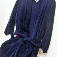 Navy Wrap Robe, Bath Sleep, Lounge Tommy Hilfiger, Unisex, Logo, Cotton Size Large, Size Extra Large