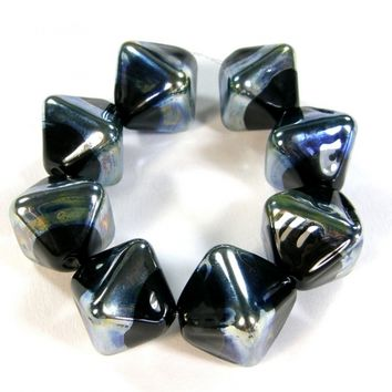 Transparent Black Handmade Lampwork Glass Crystal Beads Aurae Band Beads BB064Aurae Shiny (Choices of Etched, .999 Fine Silver, Shapes, Sizes, Large Hole Beads Extra)