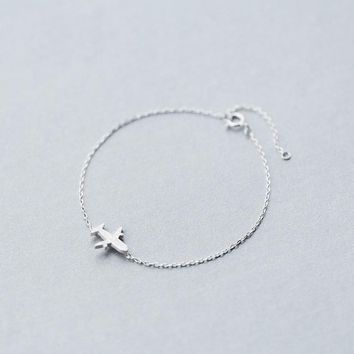 MloveAcc 925 Sterling Silver Jewelry Matt Aircraft Airplane Chain Bracelets for Women Plane Charm sterling-silver-jewelry