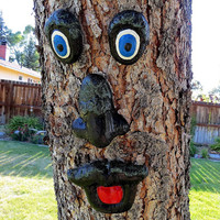 Tree face, Concrete tree face, hand painted tree face, fence art, yard art, Black tree face, concrete face