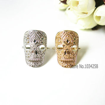 Dainty sugar skull ring, skull jewelry, day of dead ring