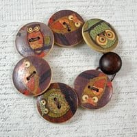 Owl Wooden Button Bracelet, Extra Large, Non Metal Jewelry