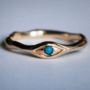 14k Gold and Persian Turquoise Eye Ring