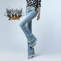 Tassel Flare Biker Jeans -  Mid Waist Woman Slim Blue Denim Bell Bottoms Jeans