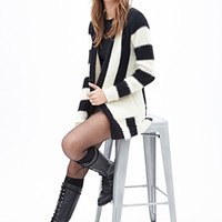 FOREVER 21 Striped Shaggy Knit Cardigan Black/Cream