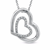 The Shared Heart™ 1/10 Ctw Diamond Heart Pendant in Sterling Silver
