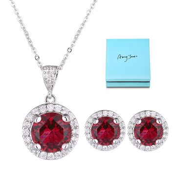 Crystal Jewelry Set for Women - Sterling Silver Round Cubic Zirconia Crystal Bridal Pendant Necklace Earrings Set for Wedding Bride Bridesmaids