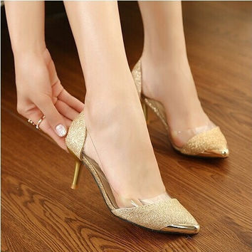 2015 summer new women shoes,6 cm high heels,metal head Pointed sexy women pumps, sandals for women = 5708896769