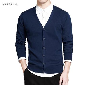 Men V-Neck Cotton Sweater With Long Sleeve / Solid Button Fit Knitted Clothing