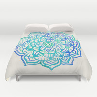 Watercolor Medallion in Ocean Colors Duvet Cover by Micklyn