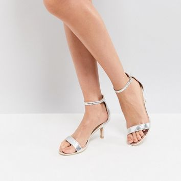 Glamorous Silver Barely There Kitten Heeled Sandals at asos.com
