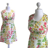 60's Mini Dress - Mod Retro - 60's Vintage Dress - Trevira 2000 - White, Pink, Green and Yellow Floral Print Dress