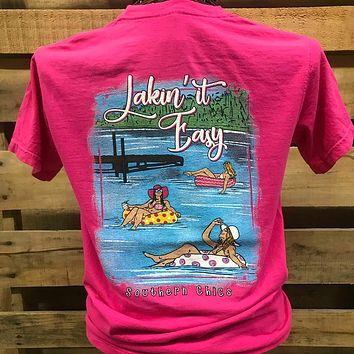 Southern Chics Lakin it Easy Lake Bright Comfort Colors T Shirt