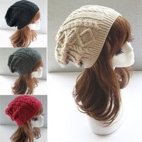 Toucas De Inverno 2014 Chapeu Feminino Twist Pattern Women Winter Hat Knitted Sweater Fashion Hats For Women New Design