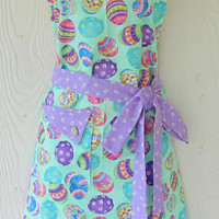 Cute Easter Apron, Easter Eggs, Retro Full Apron, Lavender Floral, Flowers, Mint Green, KitschNStyle