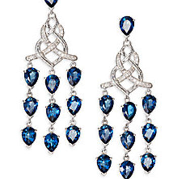 John Hardy - Classic Chain London Blue Topaz, Diamond & Sterling Silver Knot Chandelier Earrings - Saks Fifth Avenue Mobile