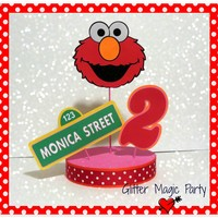 Elmo Centerpiece Personalized Name and Age - Sesame Street - Sesame Street Party Decoration - Elmo Party - Elmo Party for Girls