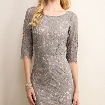 Love at First Pick Lace Dress- Grey