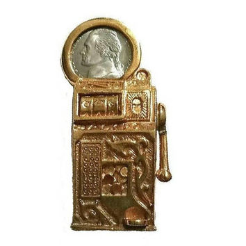 Lucky SLOT MACHINE Brooch Gambler Casino High Roller Fruit Machine Vintage Jewelry Gift Pin Broach Nickel Slots Gambling Pendant Luck Gift