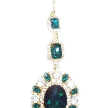 Marquis,Cameo Crystal Drop Christmas Ornament,  Emerald,Clear,Gold..