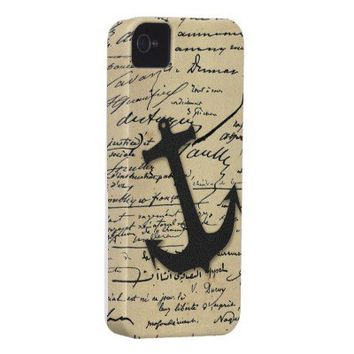Vintage gray retro nautical anchor marine paper iPhone 4 covers from Zazzle.com