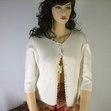 Liz Claiborne Sweater, button front, crocheted trim cardigan XL