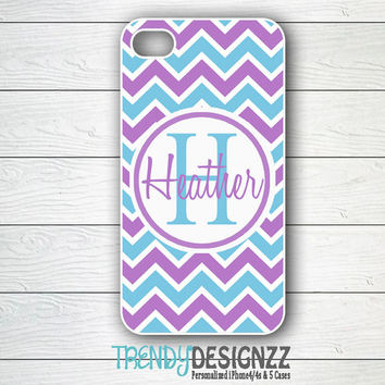 iPhone case, Personalized iPhone case, iPhone 4 case, iPhone 5 case, Cover, Blue Purple Chevron, Personalized Phone Cover (1002)