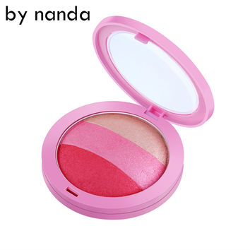 BY NANDA 3 Color Blush Palette Waterproof Face Blush Powder Makeup Cheek Color Blusher Colorete Sleek Beauty
